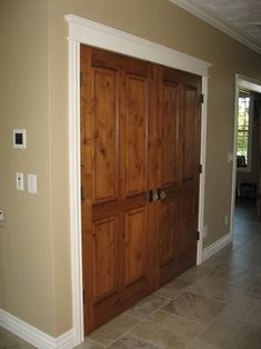 White Trim With Wood Doors Door Closet