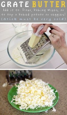 Grate butter for baking and foods
