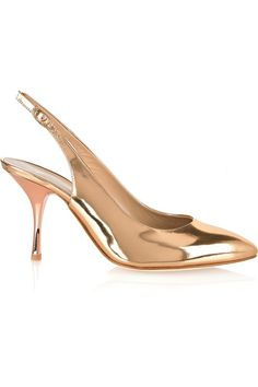 Giuseppe Zanotti  Metallic-gold leather slingbacks with a rose-gold heels.