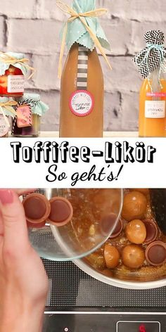 Make Toffifee liqueur yourself - that& how it works - Obszön lecker!,Toffifee-Likör selber machen - so geht's Homemade gifts such as the creamy-sweet Toffifee liqueur are a great gift for many occasions. Cocktail Drinks, Cocktail Recipes, Caramel, Liqueur, Vegetable Drinks, Healthy Eating Tips, Diy Food, Homemade Gifts, Diy Gifts