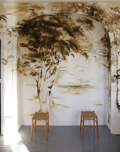 #clairebasler #chateaudebeauvoir Mural Art, Wall Murals, Wall Art, Claire Basler, Times New Roman, Impressionist Art, Motif Floral, Concept Architecture, French Artists