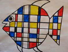 "I finally got around to trying out the popular ""Mondrian Animals"" lesson. I originally saw it in ""Arts & Activities"" magazine by art teacher Berniece Patterson - find the lesson plan HERE. It's a grea"