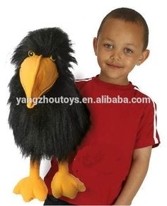 hot sale black color bird plush hand ventriloquist puppets