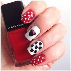 Black, White and Red Disney Nail Art Design