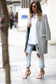 Maje grey coat, distressed jeans & Givenchy sandals #StreetStyle