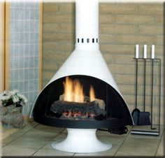 Scandinavian Fireplace with Fireplace Tools