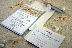 Custom Invitations, Burlap Wedding Invitation, Beach Wedding Invitation - PaperStudioByC.artfire.com