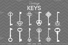 12 Vintage Skeleton Keys by AzmariDigitals on @creativemarket