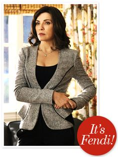Item: Grey blazer with black accents and flared waist Brand: Fendi From: The Good Wife (tv show)