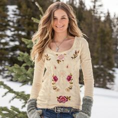 """CELESTIAL GARDEN TEE�--�Intricate, tone-on-tone embroidery creates a subtle backdrop to colorful vines and blossoms in this Scandinavian-inspired tee. Cotton. Machine wash. Imported. Sizes XS (2), S (4 to 6), M (8 to 10), L (12 to 14), XL (16). Approx. 27""""L."""
