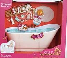 Our Generation by Battat- Bath & Bubbles Deluxe Set for Dolls- Toy, Doll & Accessories for Dolls- Ages 3 Years & Up Barbie Doll Set, Barbie Doll House, Barbie Toys, Little Girl Toys, Baby Girl Toys, Toys For Girls, American Girl Doll Room, American Girl Doll Pictures, My Life Doll Stuff
