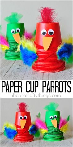 This colorful paper cup parrot craft makes a fun kids craft, bird craft for kids, upcycled kids craft, and preschool craft.