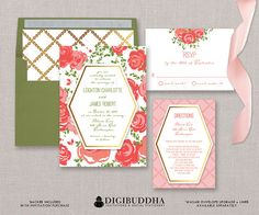 Coral Pink Roses & Trellis 3 Pc Wedding Invitation Suite Faux Gold Foil Modern Floral FREE PRIORITY SHIPPING or DiY Printable - Leighton style available at digibuddha.com