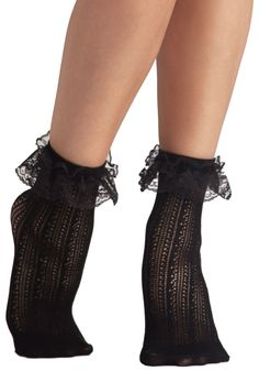 Dancing on Flair Socks in Black. With these crocheted black socks peeking out from the top of your pastel saddle shoes, you wont be able to keep your feet still! #black #modcloth