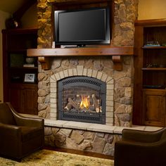 If your room construction or decor does not allow space for a traditional full surround fireplace mantel, our mantel shelves may be your answer.  Offered in elegant styles, they are custom built to your specifications.  Choose from a variety of woods and stain colors to create the perfect mantel solution.  Shown is our Timberwood shelf with corbel option in Rustic Alder with a Russet stain.
