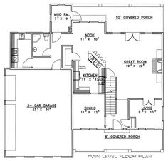 Craftsman Style House Plan - 3 Beds 3.5 Baths 2760 Sq/Ft Plan #117-540 Floor Plan - Main Floor Plan - Houseplans.com