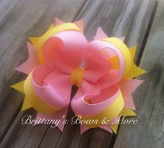 Solid Stacked Boutique Bow--In Yellow & Pink