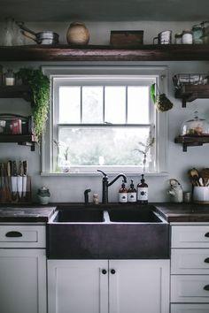 Modern Rustic Kitchen Makeover - Hand hammered copper kitchen sink