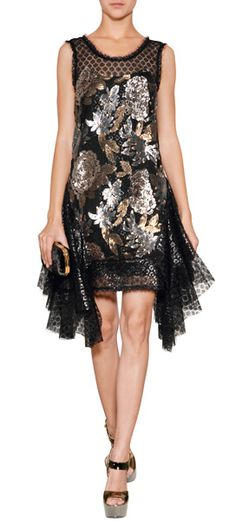 Shimmering metallic embellishment dresses up the look of this dazzling sheer detailed dress from Anna Sui #Stylebop