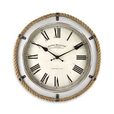 FirsTime® Whitewashed Rope Wall Clock - BedBathandBeyond.com