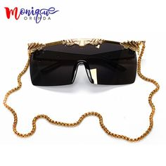 Cheap sunglasses with, Buy Quality sunglasses with brand directly from China sunglasses with gold chain Suppliers: 2017 New Arrived Women Sunglasses Brand Designer Steampunk Mens Sunglasses Oversize Sunglasses With Gold Chain Square Sunglasses Ray Ban Style Sunglasses, Sun With Sunglasses, Cheap Sunglasses, Retro Sunglasses, Oversized Sunglasses, Sunglasses Accessories, Round Sunglasses, Sunglasses Women, Ray Ban Styles