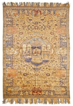 KAYSERI SILK, pictorial carpet, antique. With a central medallion on a yellow central field. The entire carpet is finely patterned with people, animals and plants, in fine pastel colours. With a blue border. Good condition, 200x290 cm.