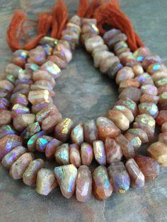 Sunstone AB Gemstone Irregular Chunk Beads. 12mm by BelleWestGems, $31.00