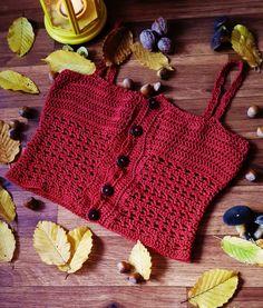 Buttoned up top / Crochet top pattern / Crochet tutorial / Crop top for women / Fall crochet fashion pattern / Crochet tank top / pdf file / Crochet Eyes, Diy Crochet, Crochet Top, Crochet Designs, Crochet Patterns, Crochet Tank Tops, Mercerized Cotton Yarn, Crochet Buttons, Crochet Fashion