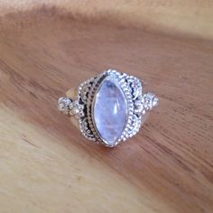 MOONSTONE NAMASTE RING || Shop our handmade sterling silver ring @thebohotrader ✌