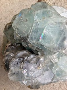 Rare giant aquamarine with rainbows and Kuan Yin energy now available- via Tania Marie