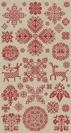Through The Bitter Frost & Snow - 37 Christmas Ornaments scandi style folklore , folk art fairytale cross stitch patterns for christmas gifts , wrap, decorations or blankets