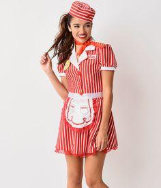 1950s Style Red  White Striped Diner Doll Car Hop Costume $64.00 AT vintagedancer.com