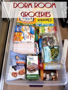 """""""Dorm Room Groceries"""" Ideas for College Kids' care packages College Essentials, College Hacks, College Necessities, Dorm Hacks, Room Essentials, College Dorm Checklist, Dorm Room Necessities, College Recipes, College Planner"""