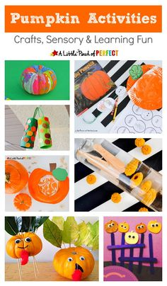 Fall is here and we have put together a wonderful list of pumpkin activities including crafts, sensory activites, and learning fun that kids will love! (Fall, Halloween)