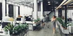 Photo about Modern open space office interior with blurred business colleagues. Image of motion, tables, inside - 155859715 Interior Wall Colors, Office Interior Design, Office Interiors, Modern Interior, Open Space Office, Valentines Day Cards Diy, Office Relocation, Photo Libre, Design Inspiration