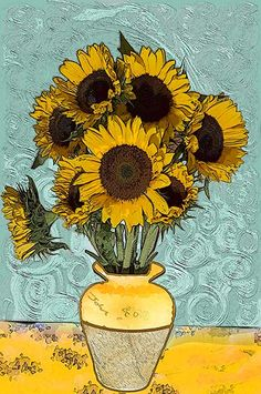 Van Gogh Most Famous Painting | Van Gogh painted a series of Sunflower canvasses, four in all. The one ...