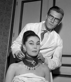 Alla & YSL before a Christian Dior collection show, July 1959.