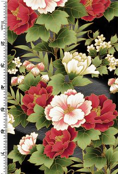 PEONY PRAIRIE: Peonies in Bloom - Red/Gold (1/2 Yard) - Asian Japanese Floral Quilt Fabric from www.debsews2.com