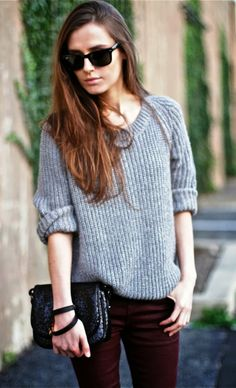 Burgundy pant and grey sweater shirt fall style
