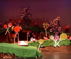 Willy Wonka Set Photos - Page 2 - Joseph Puleo's Photos Halloween Party Themes, Xmas Party, Halloween Kids, Charlie Chocolate Factory, Wonka Chocolate Factory, Kids Stage, Stage Set, Stage Decorations, Outdoor Christmas Decorations