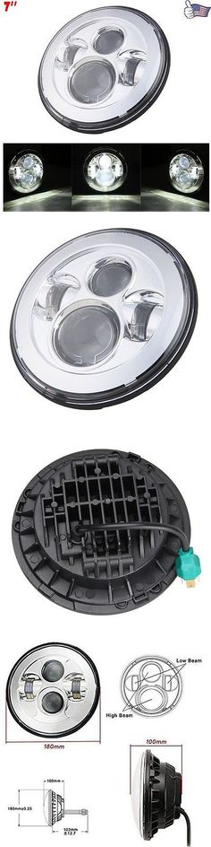 motorcycle parts: 7 Round Projector Daymaker Headlight For Harley Led Street Glide Flhx Chrome BUY IT NOW ONLY: $56.97