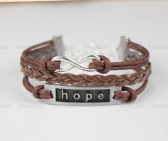 antique silver infinity bracelet letter hope bracelet,coffee wax cord braid leather bracelet,The best bracelet, men and women friends gifts