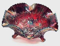 Red Carnival My Glass, Glass Art, Decorative Items, Decorative Bowls, Greenery Centerpiece, Indiana Glass, Fenton Glass, Carnival Glass, Glass Collection