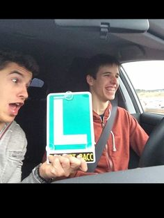 Funny Marc Marquez in the car with his brother and moto 3 rider Alex Marquez learning to drive