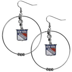Siskiyou NHL New York Rangers, Enamel, and Rhinestone 2-inch Hoop Earrings