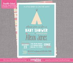 Teepee Baby Shower Invitation Boy Baby Shower by ZoeyBlueDesigns