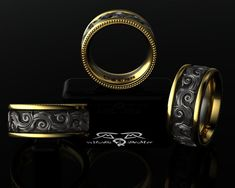 Intricate 14kt European Yellow Gold, Black Silver Wedding Band Mens or Womens Ring. Luxury Weight Comfort Fit.