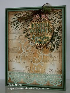 Gorgeous Joyful Wishes Card...with gold foil ornament & lace.