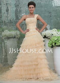 Prom Dresses - $210.19 - Ball-Gown One-Shoulder Chapel Train Chiffon Tulle Charmeuse Prom Dresses With Ruffle Lace Beading (018017391) http://jjshouse.com/Ball-gown-One-shoulder-Chapel-Train-Chiffon-Tulle-Charmeuse-Prom-Dresses-With-Ruffle-Lace-Beading-018017391-g17391
