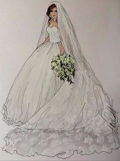 Artist credit in artwork Wedding Dress Drawings, Wedding Drawing, Fashion Design Drawings, Fashion Sketches, Fashion Art, Fashion Models, Bridal Gowns, Wedding Gowns, Beautiful Gowns